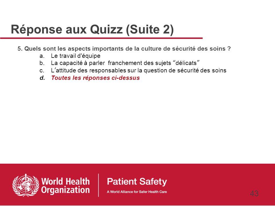 Réponse aux Quizz (Suite 2)