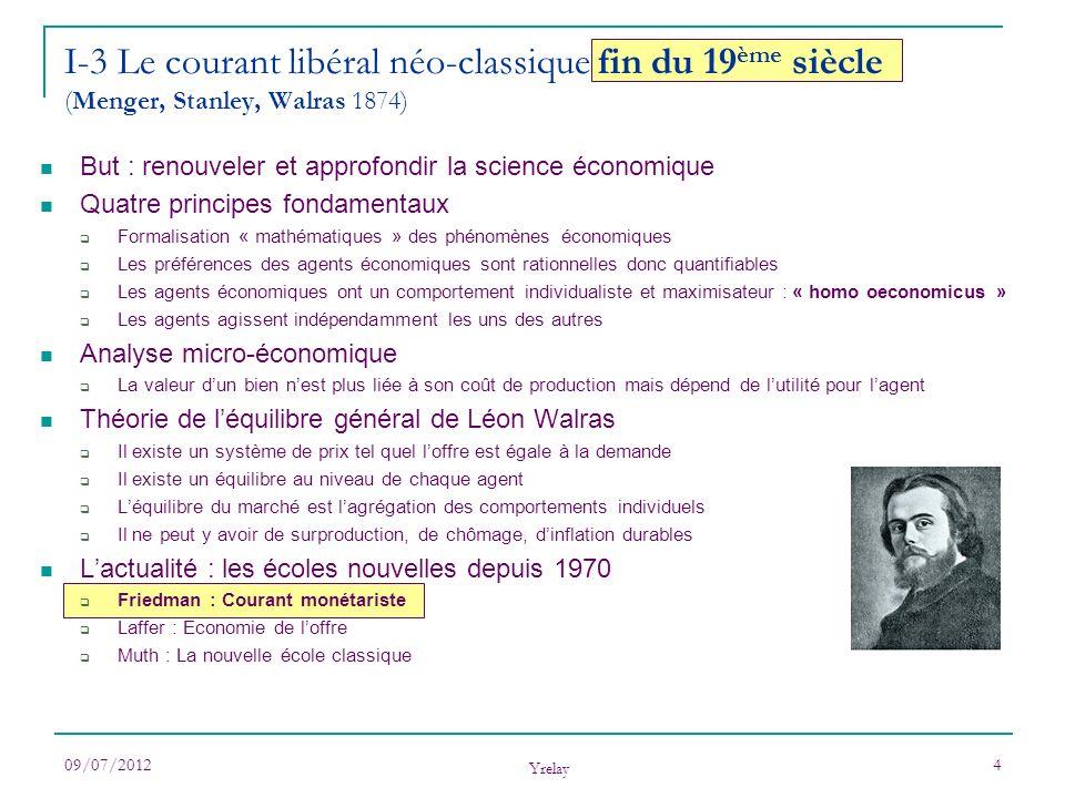 I-3 Le courant libéral néo-classique fin du 19ème siècle (Menger, Stanley, Walras 1874)