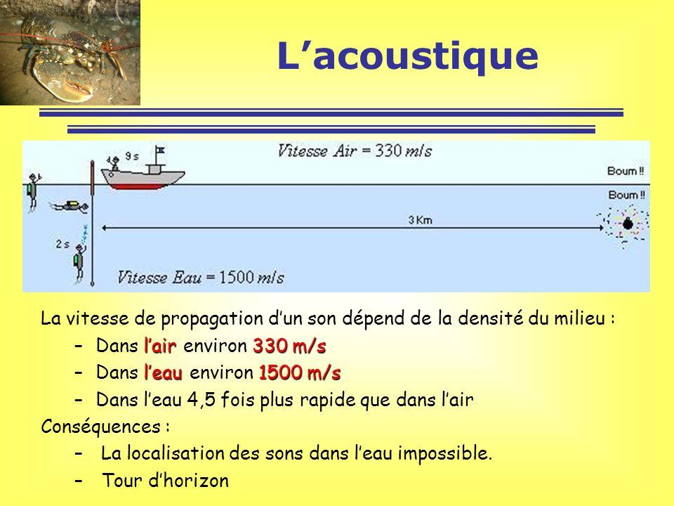 L'acoustique La vitesse de propagation d'un son dépend de la densité du milieu : Dans l'air environ 330 m/s.