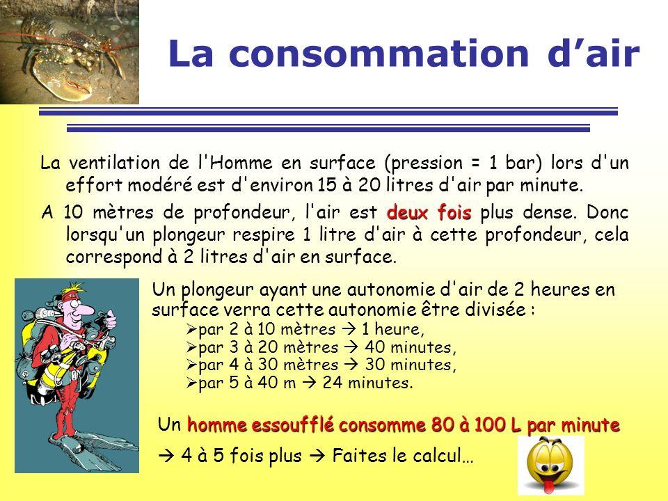 La consommation d'air La ventilation de l Homme en surface (pression = 1 bar) lors d un effort modéré est d environ 15 à 20 litres d air par minute.