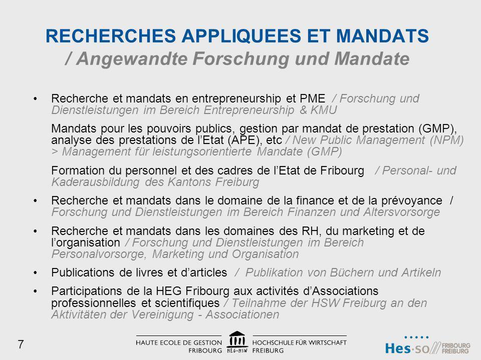 RECHERCHES APPLIQUEES ET MANDATS / Angewandte Forschung und Mandate