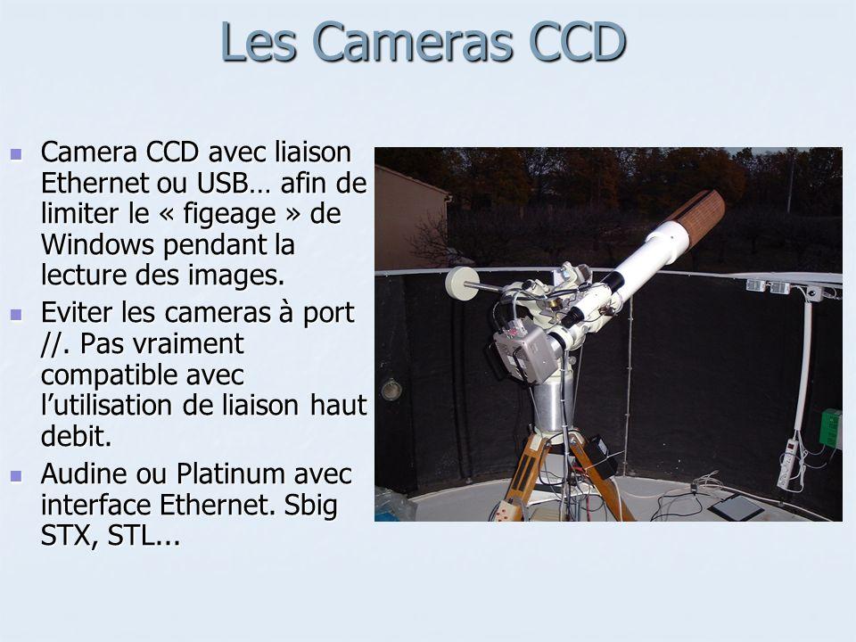 Les Cameras CCDCamera CCD avec liaison Ethernet ou USB… afin de limiter le « figeage » de Windows pendant la lecture des images.