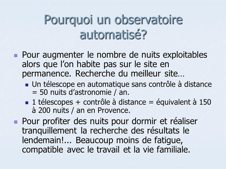 Pourquoi un observatoire automatisé