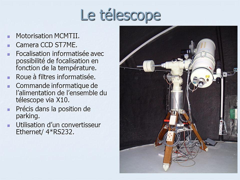 Le télescope Motorisation MCMTII. Camera CCD ST7ME.