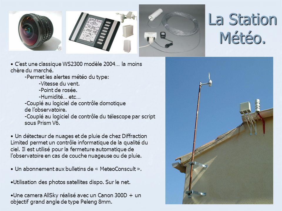 La Station Météo. C'est une classique WS2300 modèle 2004… la moins chère du marché. Permet les alertes météo du type: