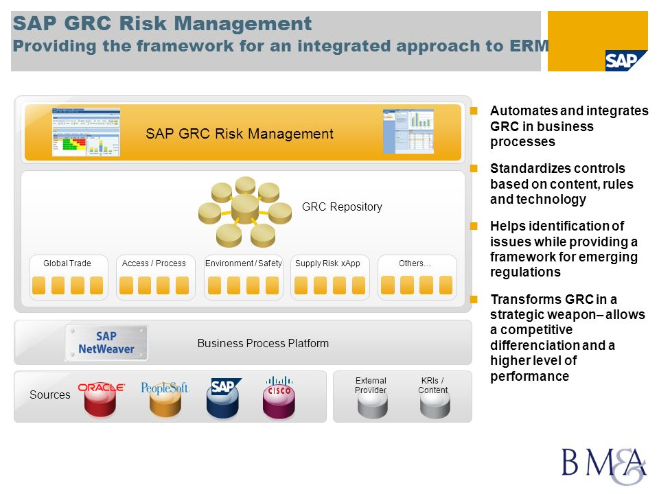 SAP GRC Risk Management Providing the framework for an integrated approach to ERM
