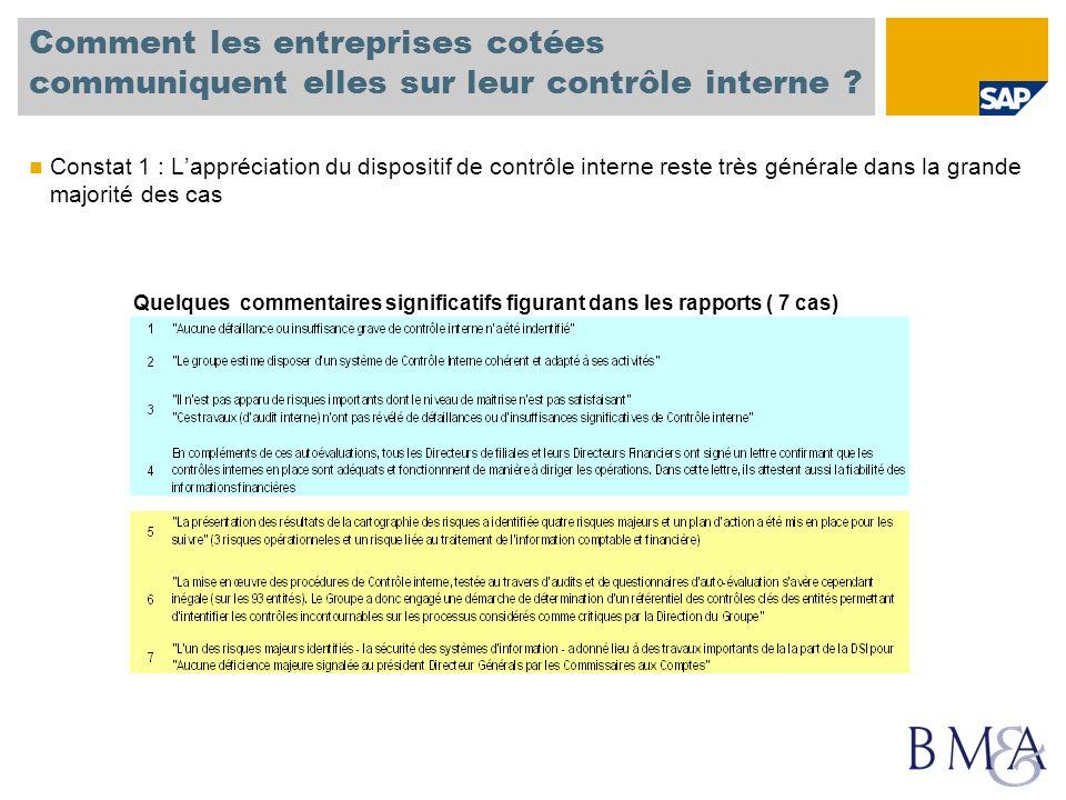 Comment les entreprises cotées communiquent elles sur leur contrôle interne