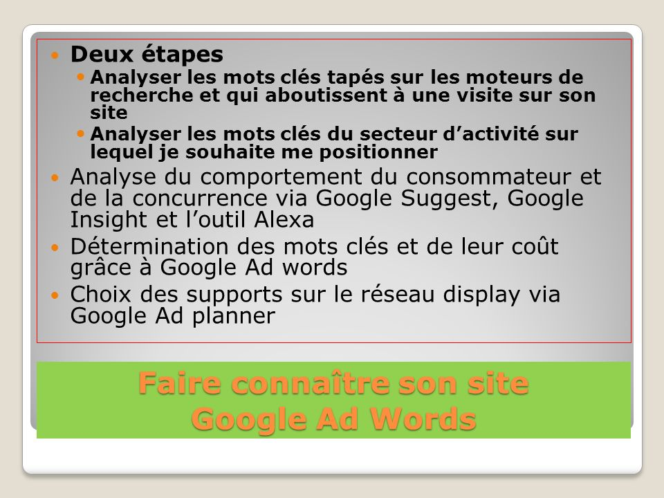 Faire connaître son site Google Ad Words