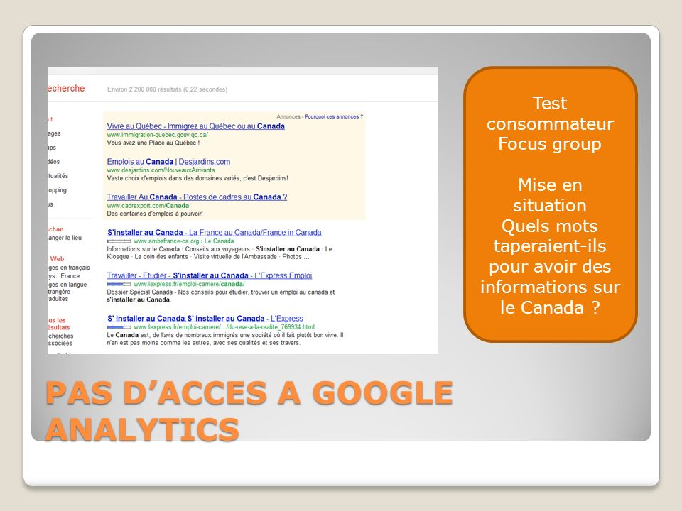 PAS D'ACCES A GOOGLE ANALYTICS