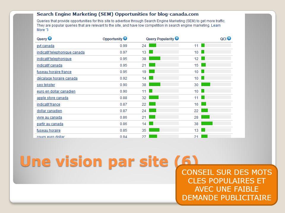 Une vision par site (6) CONSEIL SUR DES MOTS CLES POPULAIRES ET AVEC UNE FAIBLE DEMANDE PUBLICITAIRE.