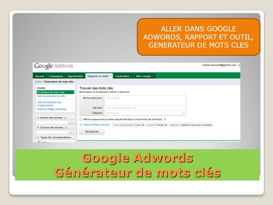 Google Adwords Générateur de mots clés