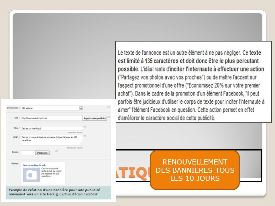 RENOUVELLEMENT DES BANNIERES TOUS LES 10 JOURS