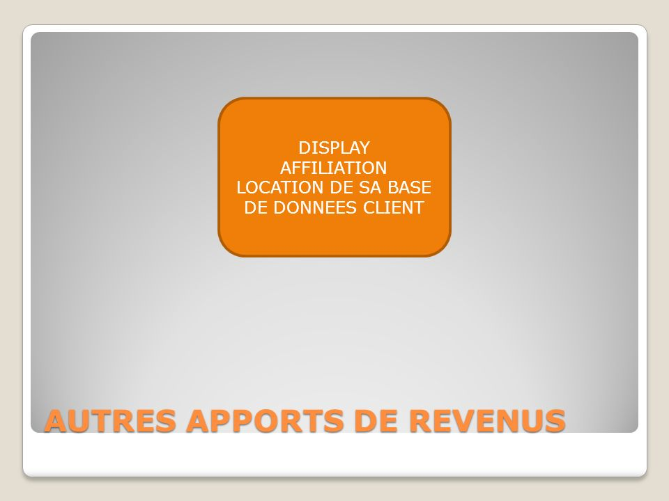 AUTRES APPORTS DE REVENUS