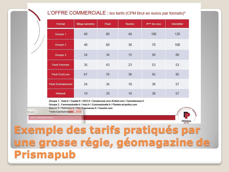 Exemple des tarifs pratiqués par une grosse régie, géomagazine de Prismapub