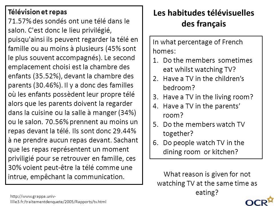 Les habitudes télévisuelles des français