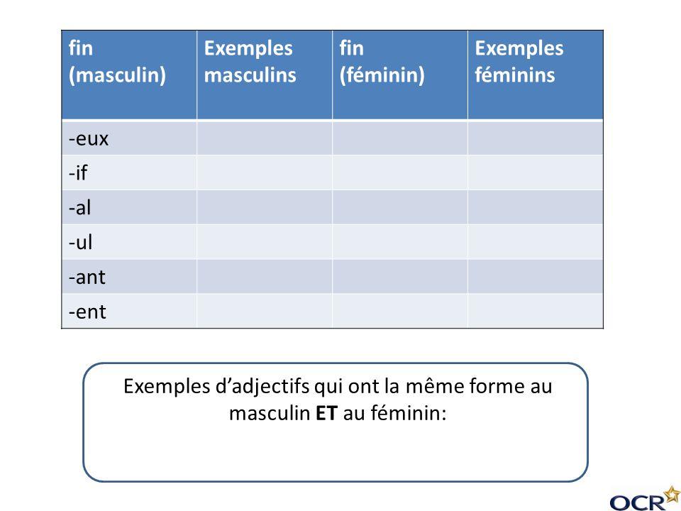 Exemples d'adjectifs qui ont la même forme au masculin ET au féminin:
