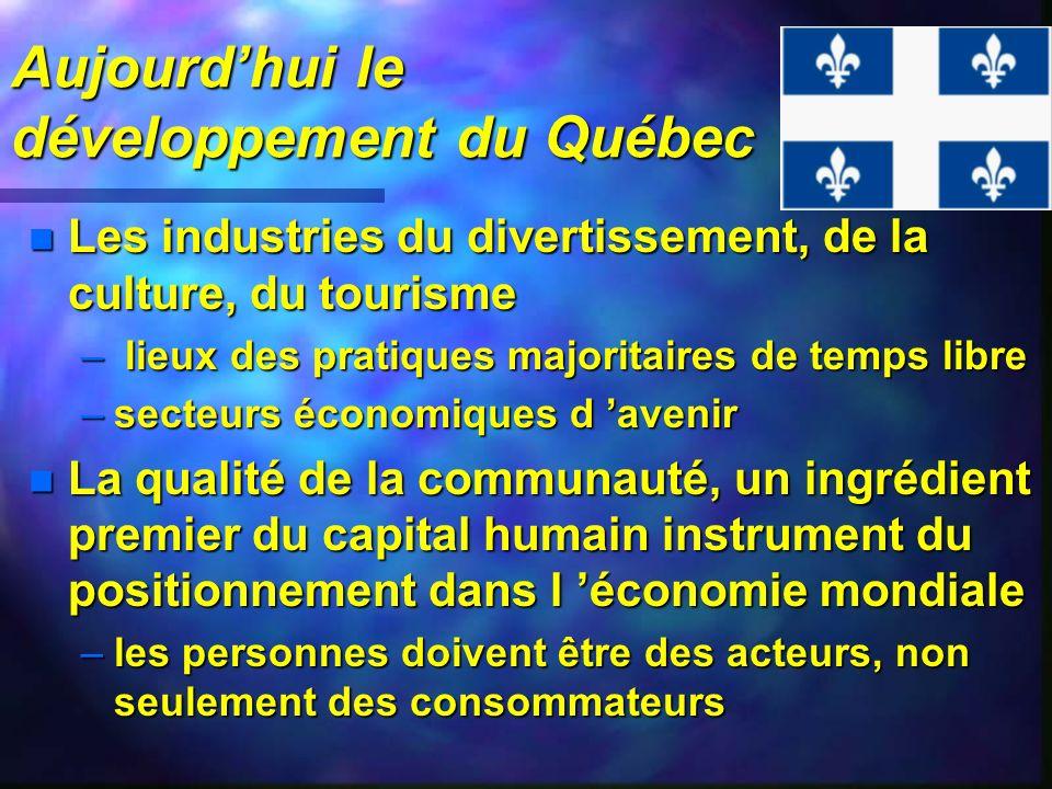 Aujourd'hui le développement du Québec