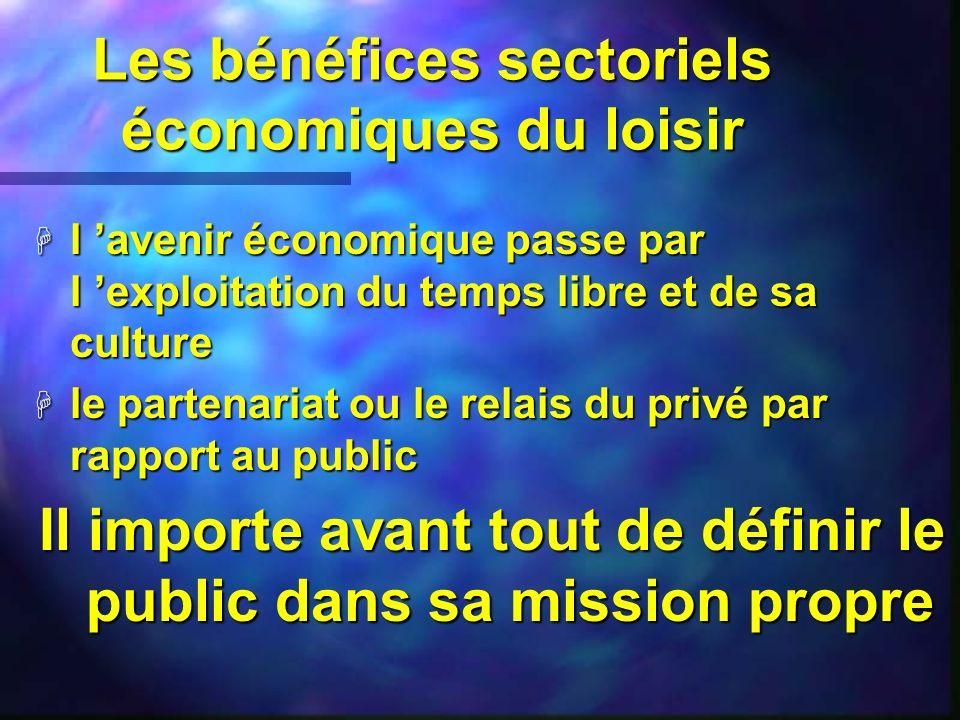 Les bénéfices sectoriels économiques du loisir