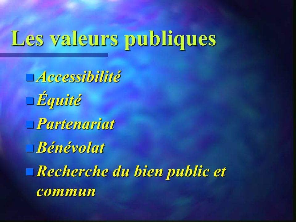 Les valeurs publiques Accessibilité Équité Partenariat Bénévolat