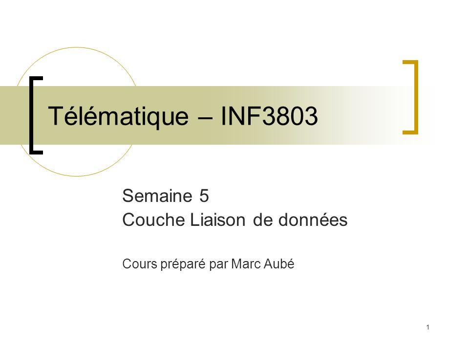Semaine 5 Couche Liaison de données Cours préparé par Marc Aubé