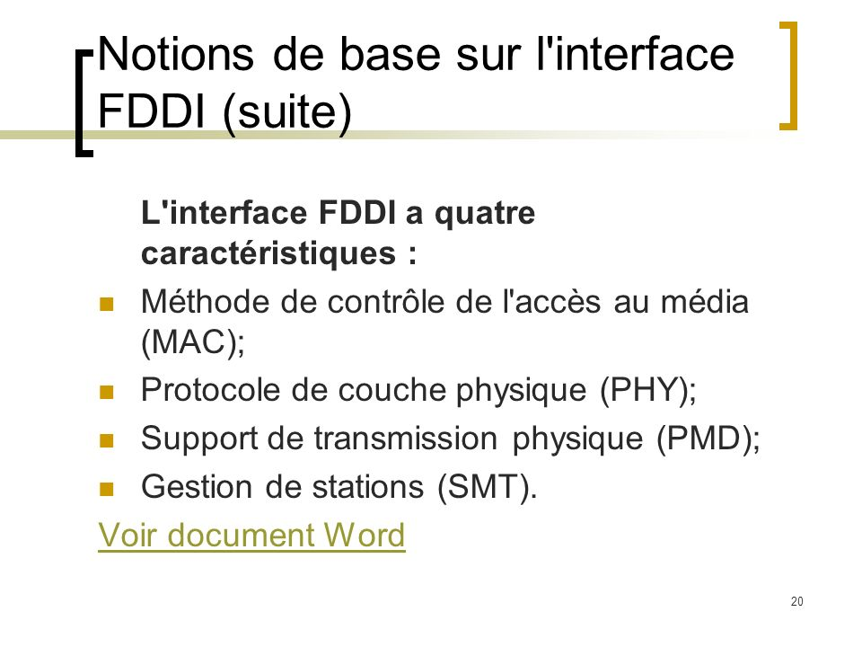 Notions de base sur l interface FDDI (suite)