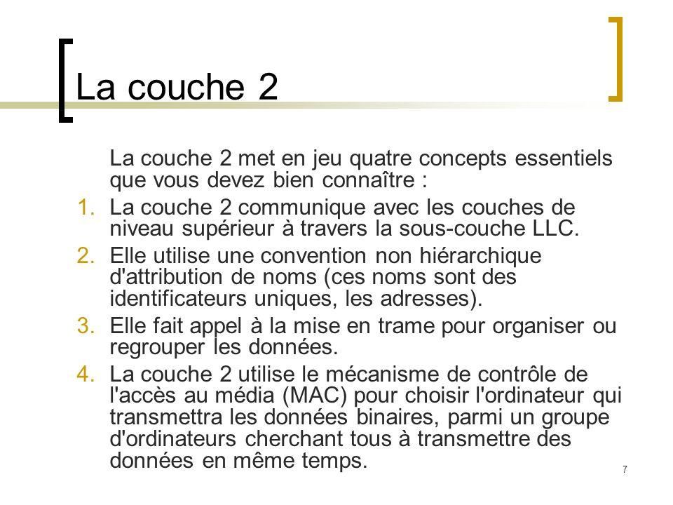 La couche 2 La couche 2 met en jeu quatre concepts essentiels que vous devez bien connaître :