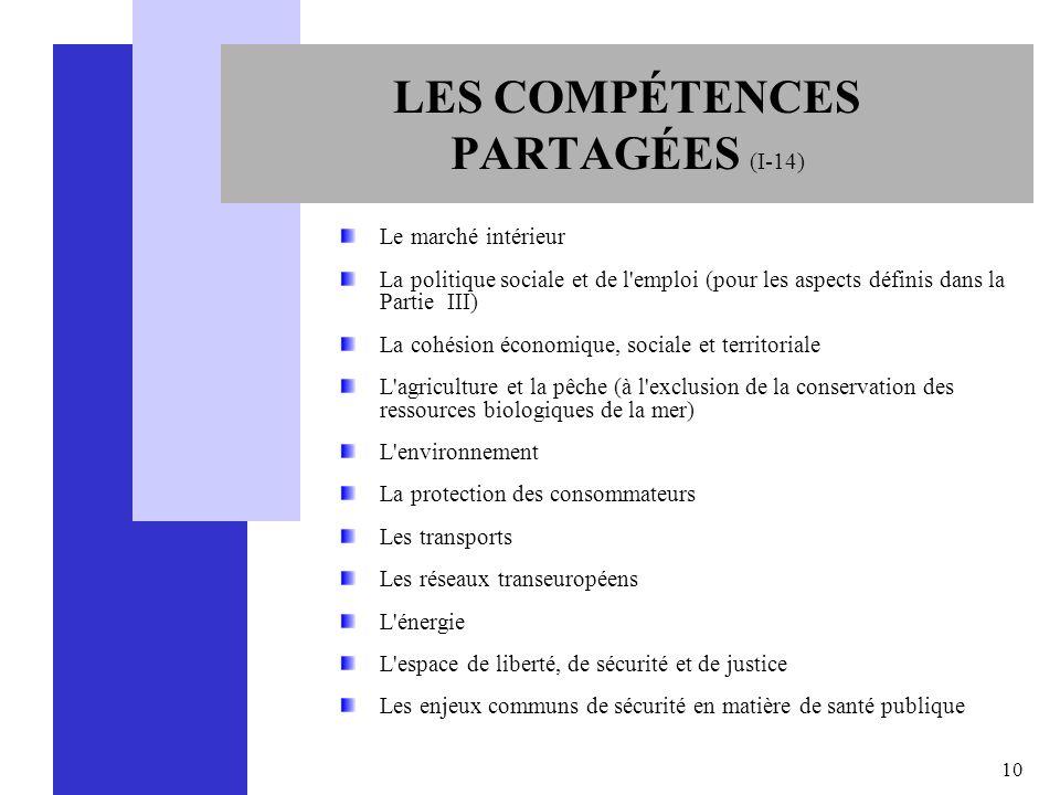 LES COMPÉTENCES PARTAGÉES (I-14)