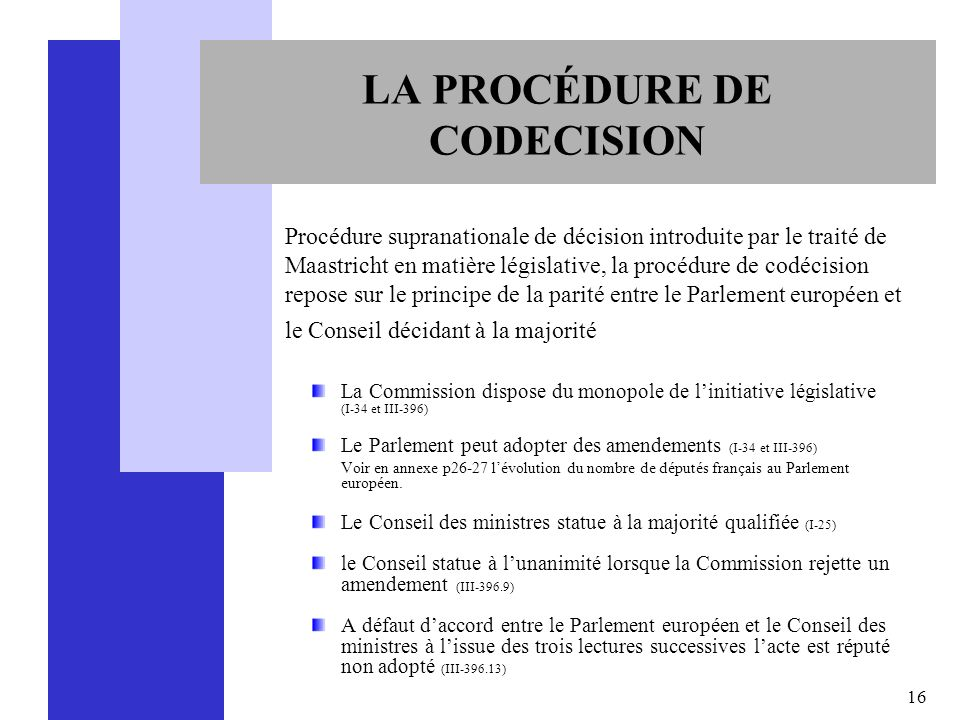 LA PROCÉDURE DE CODECISION