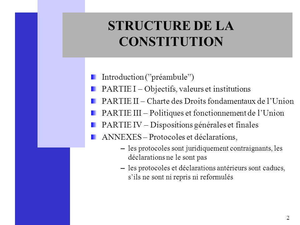STRUCTURE DE LA CONSTITUTION