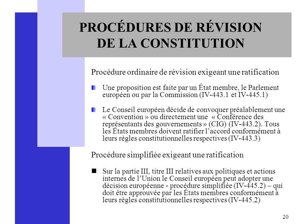 PROCÉDURES DE RÉVISION DE LA CONSTITUTION