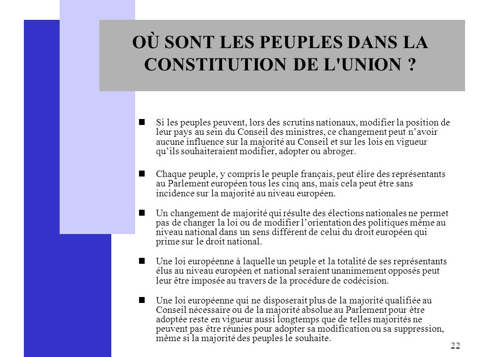 OÙ SONT LES PEUPLES DANS LA CONSTITUTION DE L UNION