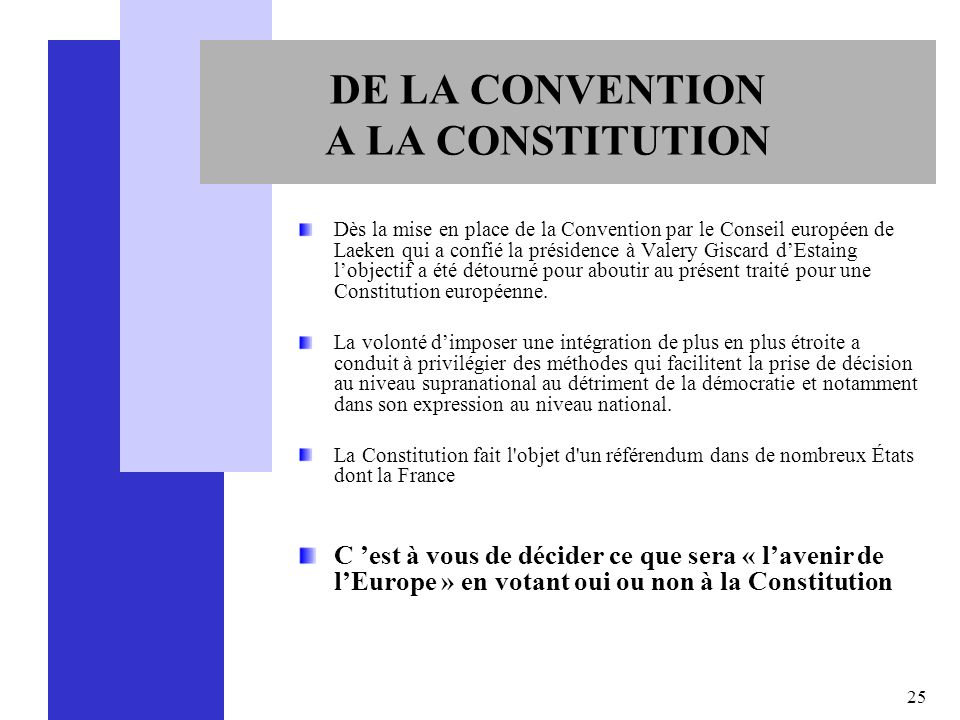 DE LA CONVENTION A LA CONSTITUTION