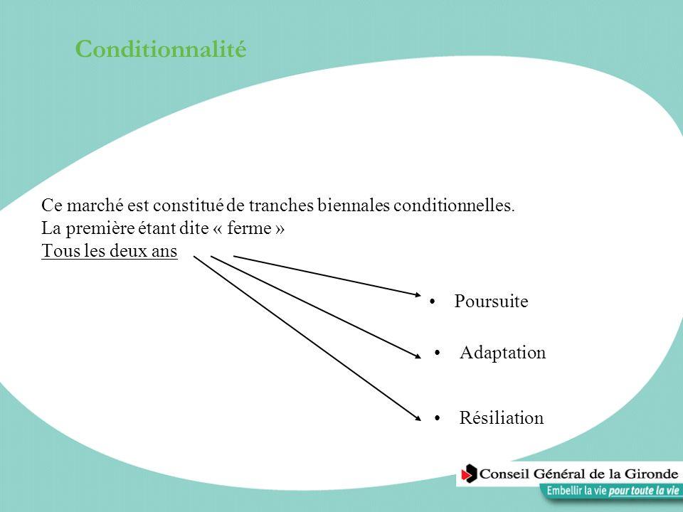 ConditionnalitéCe marché est constitué de tranches biennales conditionnelles. La première étant dite « ferme » Tous les deux ans.