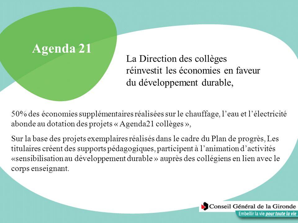 Agenda 21La Direction des collèges réinvestit les économies en faveur du développement durable,