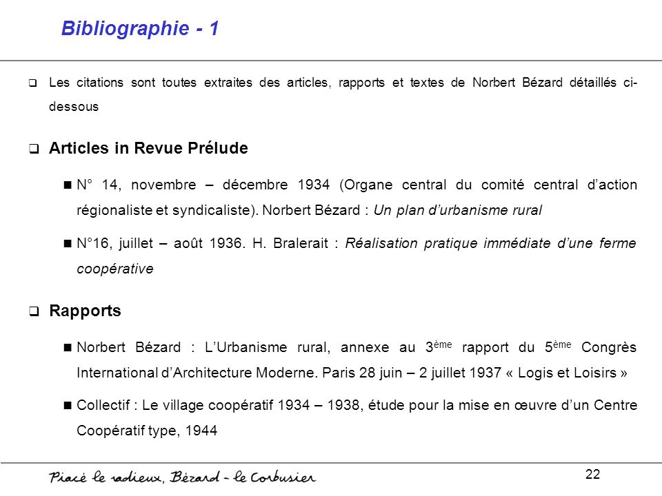 Bibliographie - 1 Articles in Revue Prélude Rapports