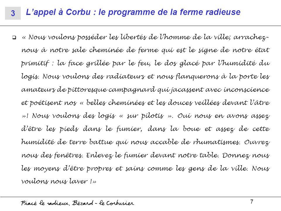 L'appel à Corbu : le programme de la ferme radieuse