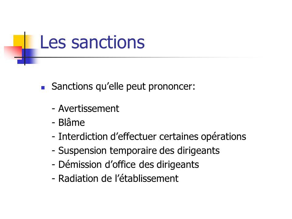 Les sanctions Sanctions qu'elle peut prononcer: - Avertissement