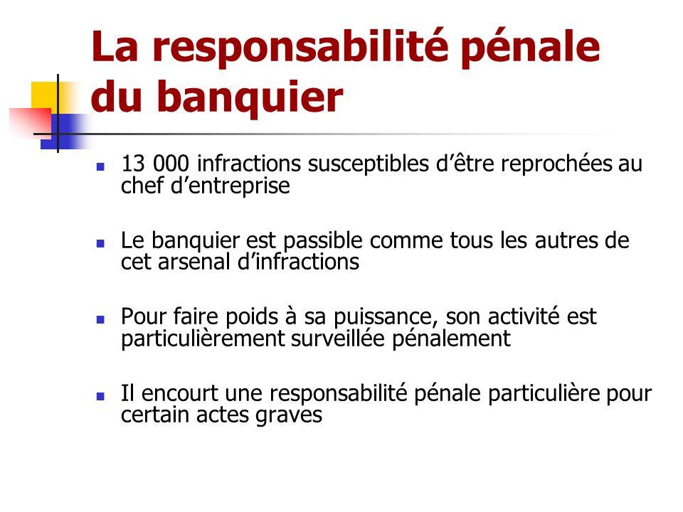 La responsabilité pénale du banquier