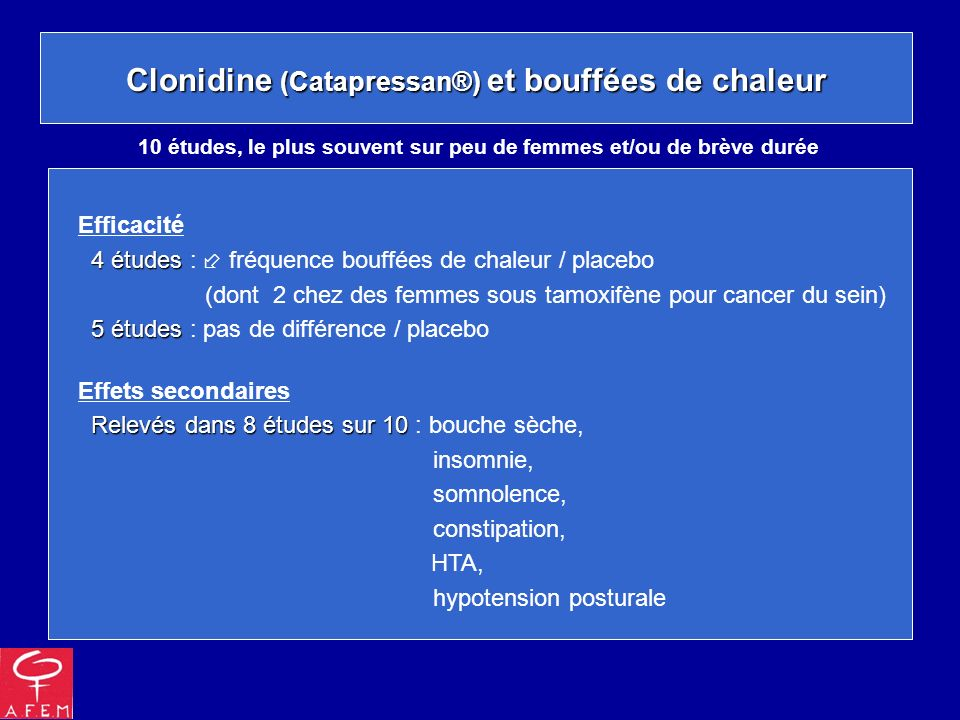 Clonidine (Catapressan®) et bouffées de chaleur