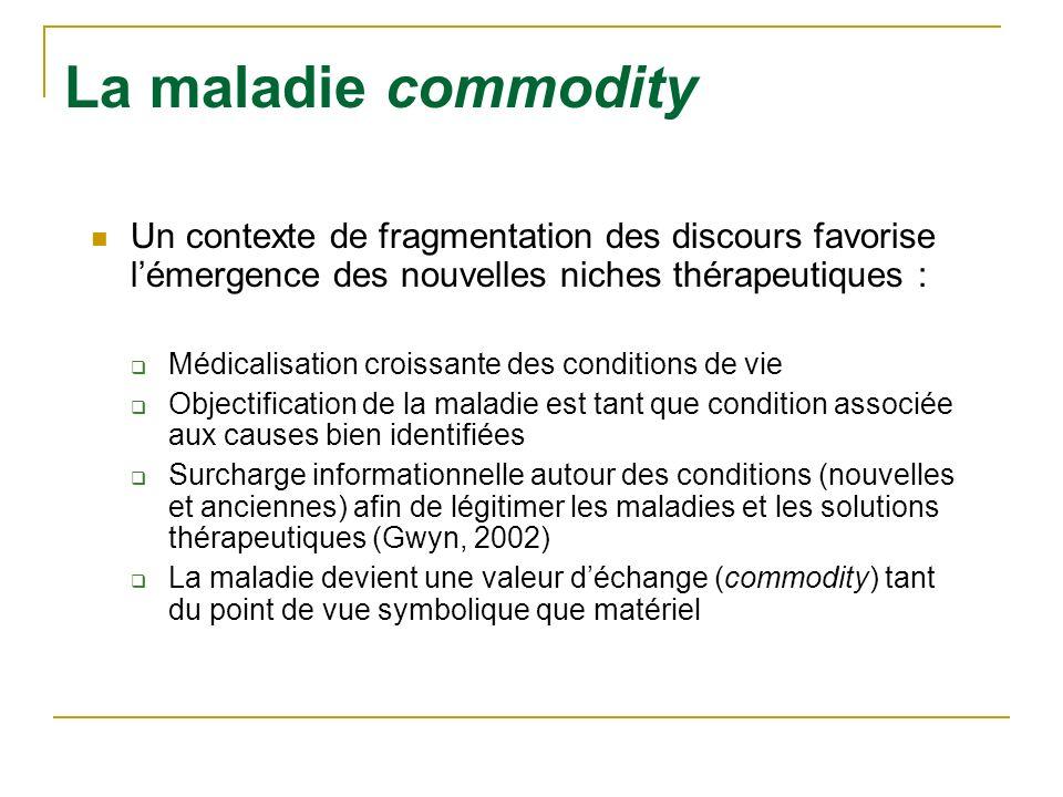 09-12-18La maladie commodity. Un contexte de fragmentation des discours favorise l'émergence des nouvelles niches thérapeutiques :