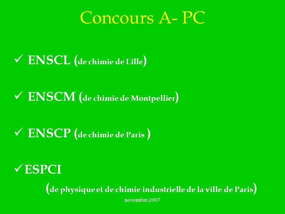 Concours A- PC ENSCL (de chimie de Lille)