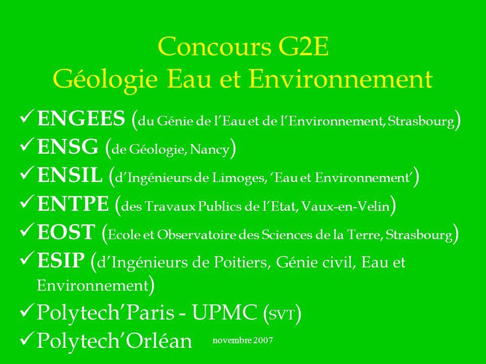 Concours G2E Géologie Eau et Environnement