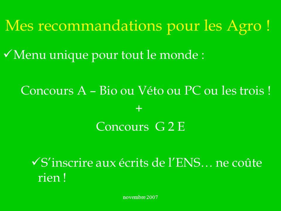 Mes recommandations pour les Agro !