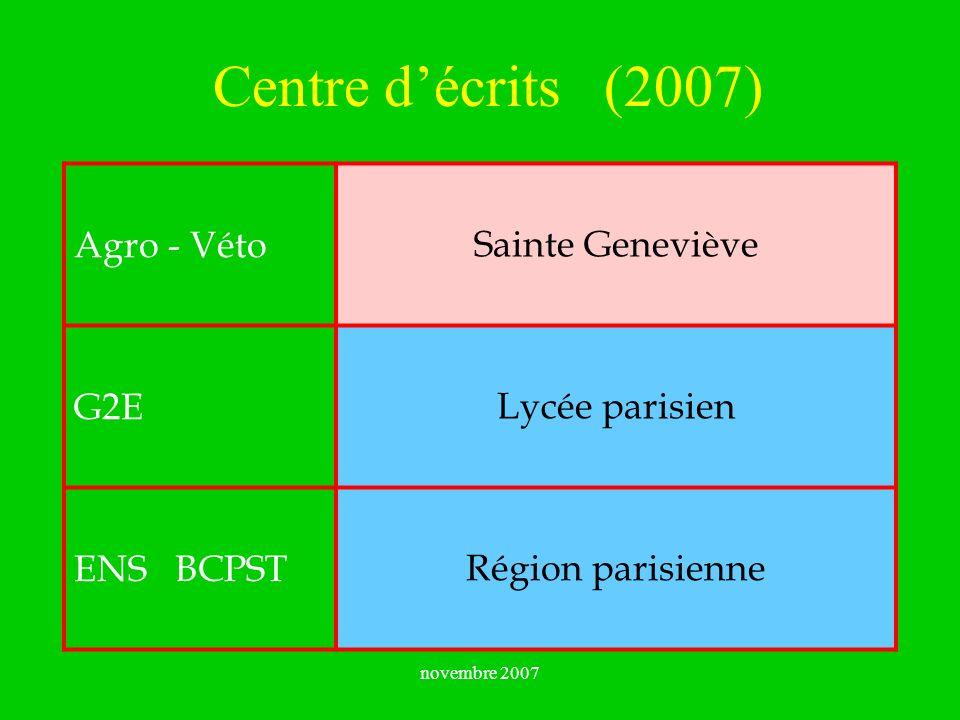 Centre d'écrits (2007) Sainte Geneviève Agro - Véto Lycée parisien G2E