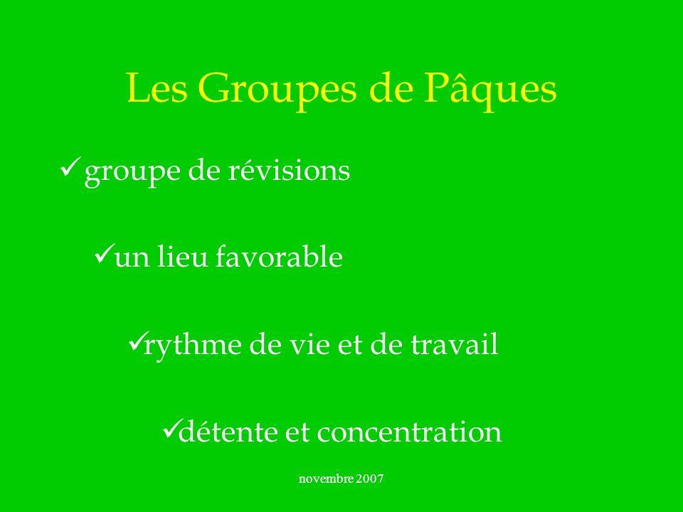 Les Groupes de Pâques groupe de révisions un lieu favorable