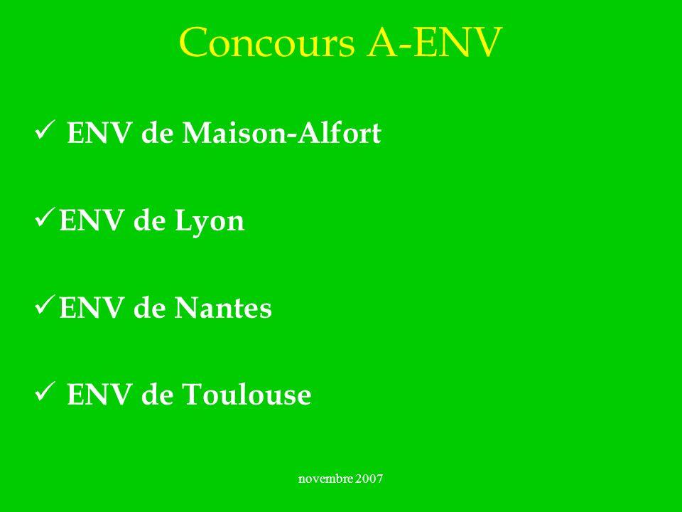 Concours A-ENV ENV de Maison-Alfort ENV de Lyon ENV de Nantes