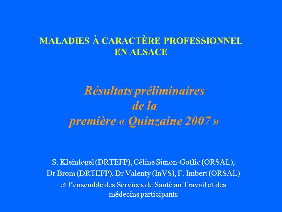 MALADIES À CARACTÈRE PROFESSIONNEL EN ALSACE