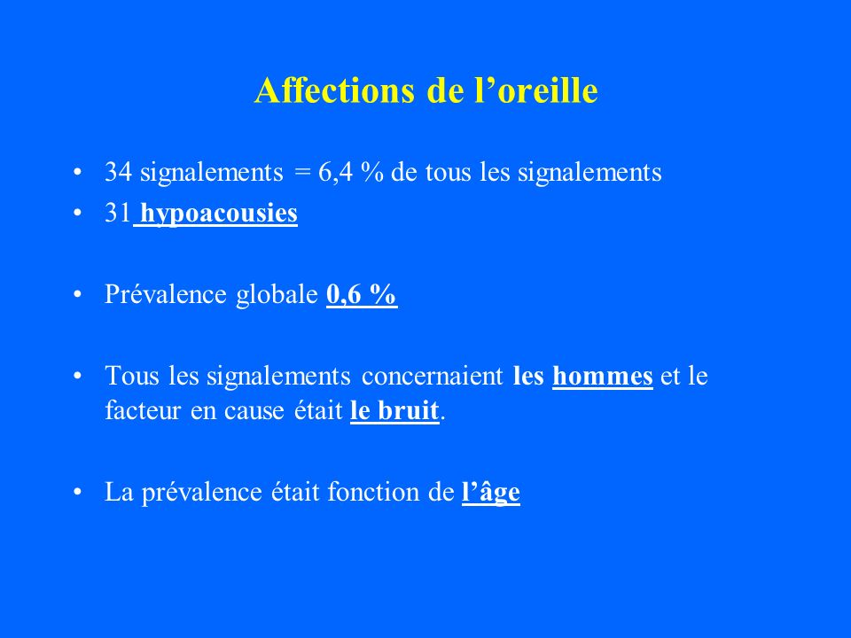 Affections de l'oreille