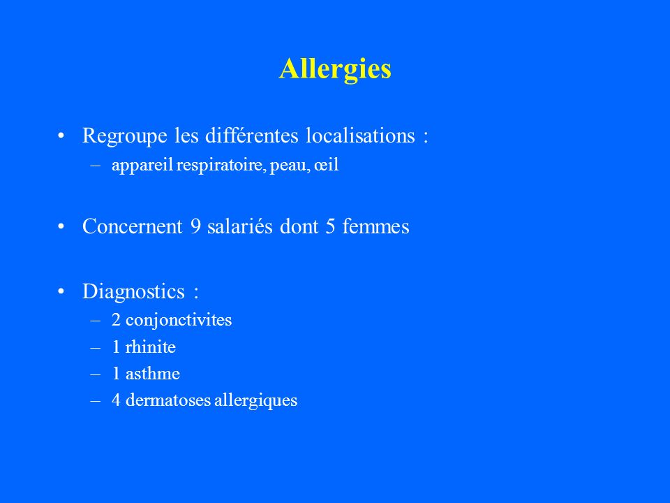 Allergies Regroupe les différentes localisations :