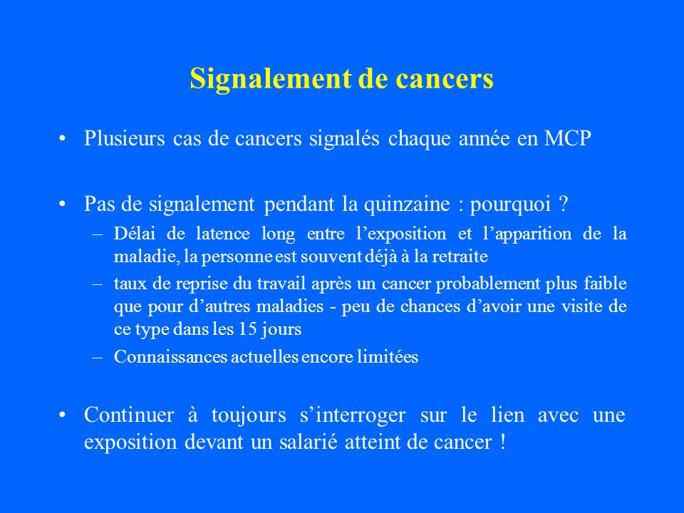 Signalement de cancers